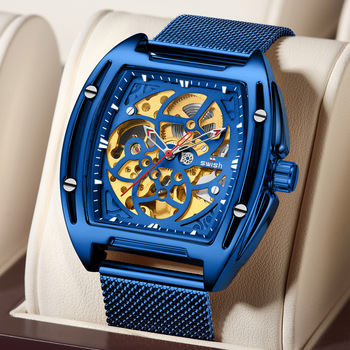 Blue Automatic Watch Men Top Brand Luxury Stainless Steel Smart Mechanical Watches for Men Military Skeleton Clock reloj hombre angela bos luxury dragon skeleton automatic mechanical watches for men wrist watch stainless steel strap gold clock waterproof