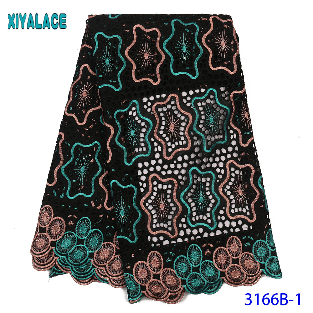 High Quality 100% Cotton Lace Fabric African Dry Lace Fabrics Swiss Voile Lace Switzerland With Stones For Wedding KS3166B