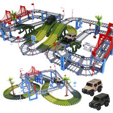Military DIY Railway Magical Racing Track Play Set Bend Flexible Glowing Race Army Flash Track Car Educational Toys For Children(China)