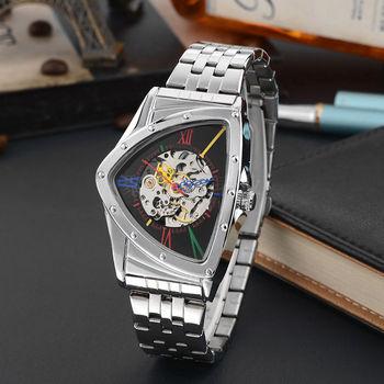 Moda męska zegarek Hollow trójkątne zegarki mechaniczne zegarki męskie ze stali nierdzewnej męskie zegarki szkieletowe Dropshipping!!! tanie i dobre opinie T-GOER 3Bar CN (pochodzenie) Składane bezpieczne zapięcie Moda casual Mechaniczna nakręcana wskazówka Samoczynny naciąg