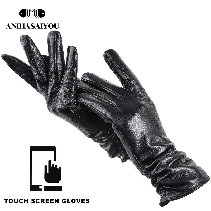28 Cm Winter Sheepskin Gloves For Women,genuine Women's Winter Gloves,multi-color Women's Gloves,Simple Touch Gloves -2081