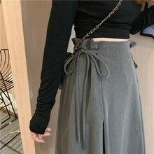 2021 spring and autumn new student mid high waist skirt Korean college mid long design grey A-line skirt