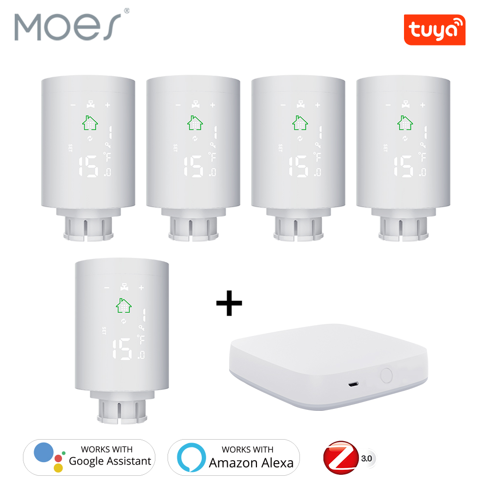 Tuya ZigBee3.0 Smart Radiator Actuator Programmable Thermostatic Radiator Valve Temperature Controller Voice Control Via Alexa
