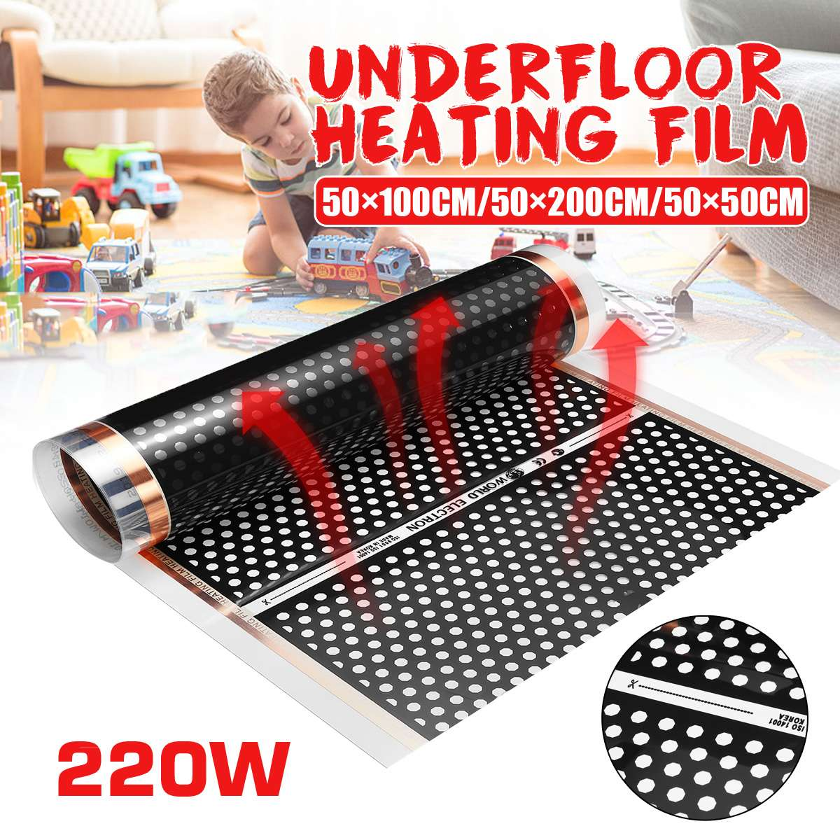 50cm Electric Floor Heating Film Underfloor Infrared Heater Floor Warmer Warm Mat Laminate / Solid Flooring Heating System