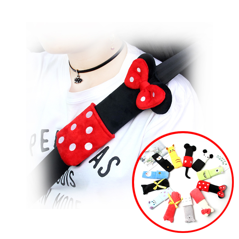 Cute Cartoon Car Sefety Seat Belt Cover Child Isofix Seat Belt Shoulder Pads Protection Plush Padding Auto Accessories