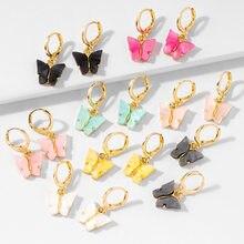 Boucles d'oreilles en acrylique pour femmes, boucles d'oreilles en cercle de papillons, tendance, sucrées, colorées, goutte d'insectes, bijoux de fête, cadeau