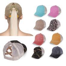 Snapback Hat Visor Baseball-Cap Trucker-Caps Ponytail Distressed Casual Women Summer