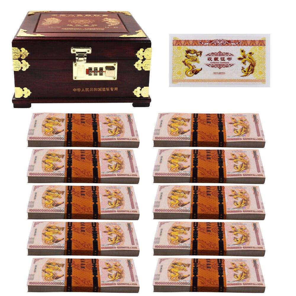 100 trillones de dólares DRAGÓN DE China Nota de papel chino caja de dinero dragón amarillo nota Uncurrency no dinero Real