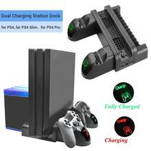Estación de carga doble 3 en 1 con ventilador de refrigeración, puertos USB, 12 ranuras, soporte de disco para PS4/PS4 Slim/PS4 Pro, accesorios para juegos