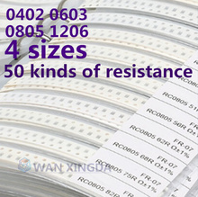 50 value X 20 pieces = 1000 pieces 0402 0603 0805 1206 resistor kit complete with 1R to 1m ohm 1% Mounter Sample Kit DIY 3.3R