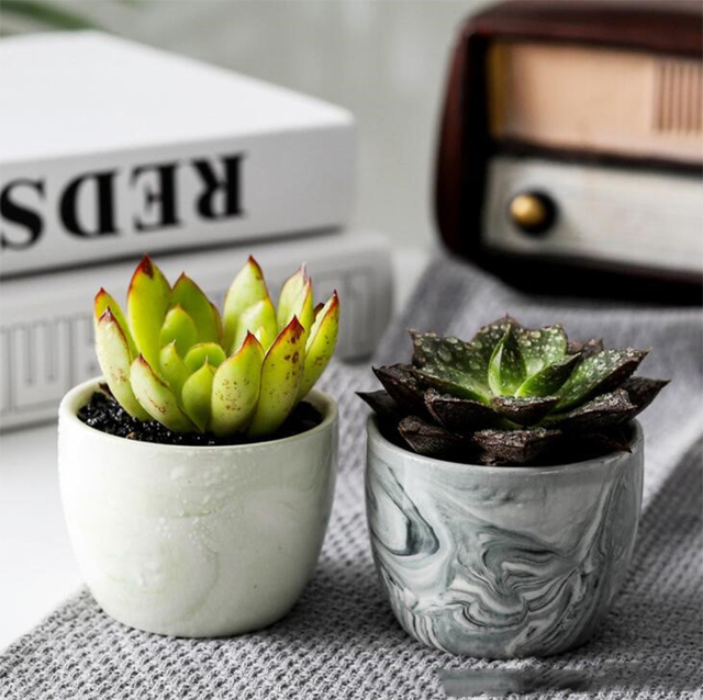 Marble Pattern Small Ceramic Flower Pot