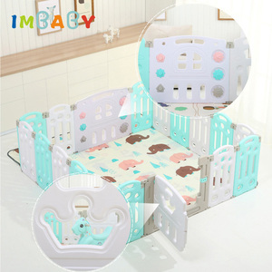 IMBABY Children Multifunction Luxury Fence With Trojan Slide Swing Free Mat Baby Playpen Indoor Dry Ball Pool Kid Safety Barrier