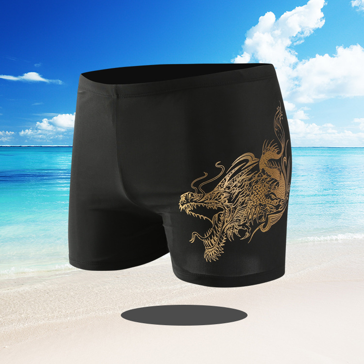 Men Swimwear Swimming Trunks Plus-sized Boxer Fashion Dyed Swimming Suit Adult Quick-Dry Industry Large Size Swimming Trunks 818