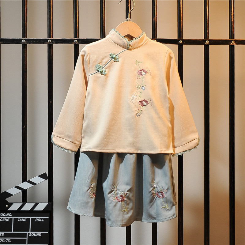 Girls Chinese Clothing Jacket Skirt Autumn Clothing Chinese-style Improved Ancient Costume Female Baby Children Western Style 20
