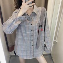 Autumn 2019 New Plaid Shirt Women Retro Hong Kong Flavor Loose Medium and Long Turn-down Collar Shirts
