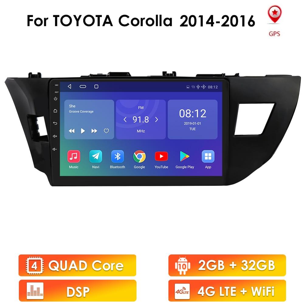 Автомагнитола 2 Din на Android, мультимедийный плеер для Toyota Corolla 2013, 2014, 2015, 2016, стереомагнитола, видео, 10 дюймов, головное устройство, Wi-Fi, 4G