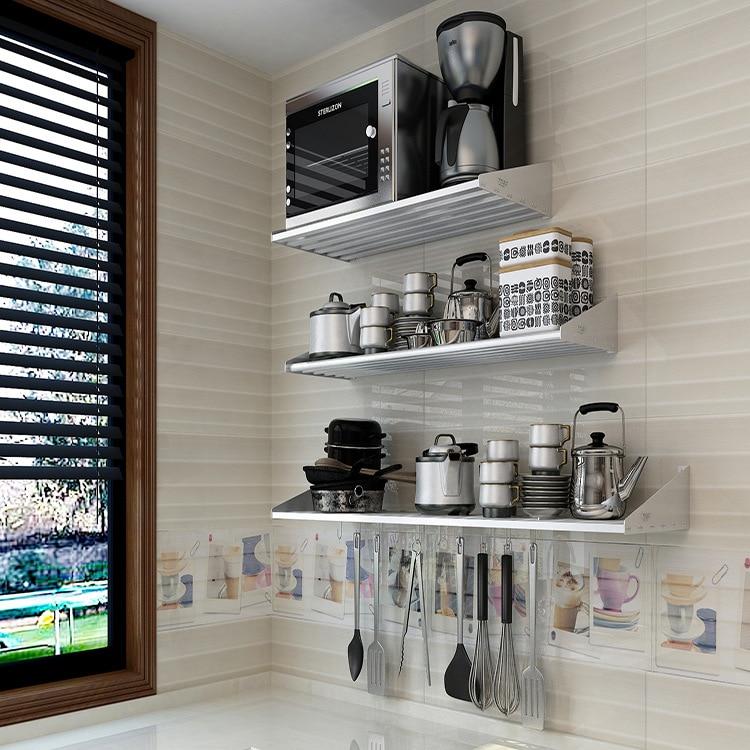 304 étagère en acier inoxydable cuisine four à micro-ondes Rack multi-fonctionnel tenture murale stockage Rack à épices une génération de graisse
