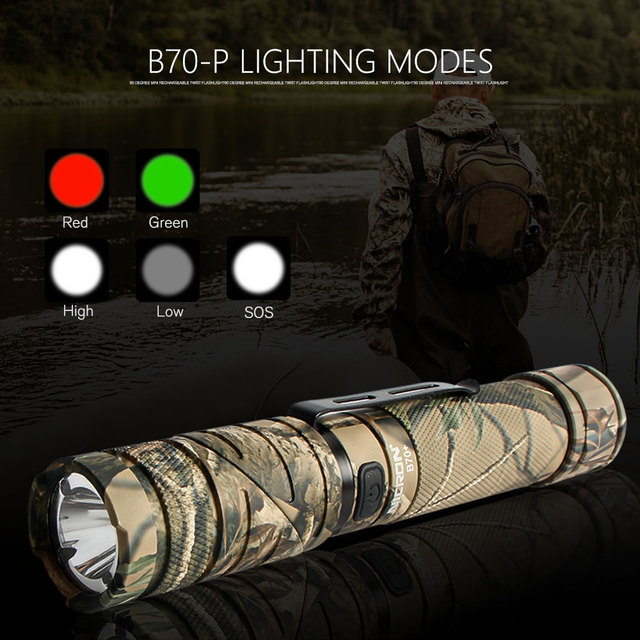 NICRON 3-Color Light 90 Degree Camo Rechargeable Twist Flashlight With 360 Rotary Clip 18650 Waterproof 1200LM LED Torch B70Plus 3