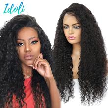 Человеческих волос глубокая волна фронтальной парик 13x4 Синтетические волосы на кружеве человеческих волос парики с детскими волосами пред...