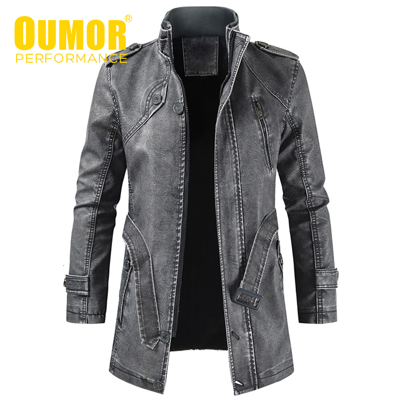 Oumor Men Winter Brand New Long Thick Fleece Leather Jacket Coat Men Outwear Fashion Warm Casual Vintage Faux Leather Jacket Men