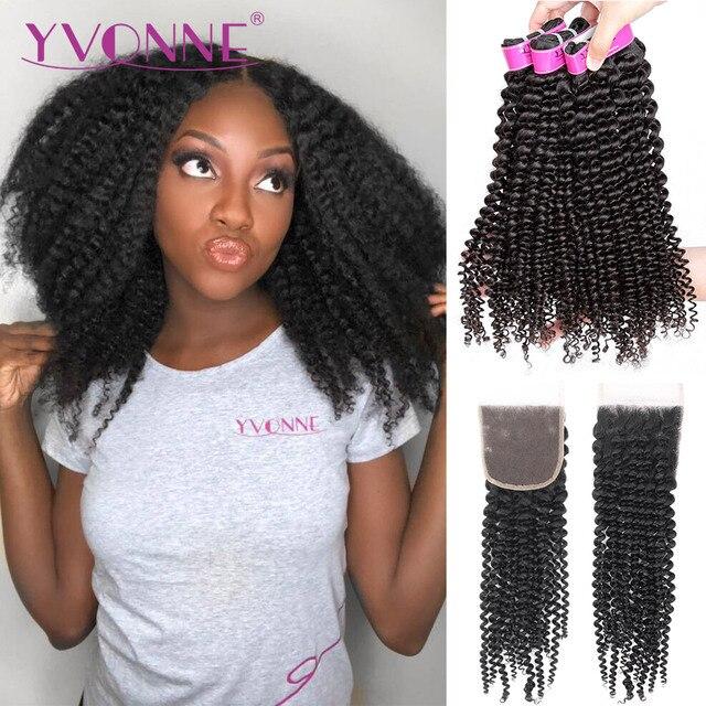 איבון 4A 4B קינקי מתולתל שיער טבעי חבילות עם סגירת 3 חבילות שיער ברזילאי לא מעובד שיער Weave חבילות עם סגירת 4x4