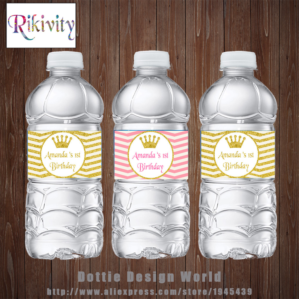 PERSONALISED BABY SHOWER WATER BOTTLE LABELS PARTY FAVOURS PRINCESS BABY GIRL
