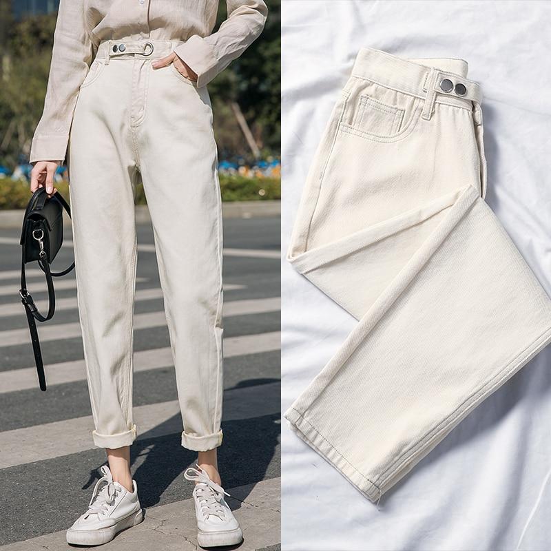 Apricot Plus Size Jeans Woman Straight Denim Pants Ladies High Waisted Jeans Women Spring Vintage Blue Jean Femme Casual Cotton