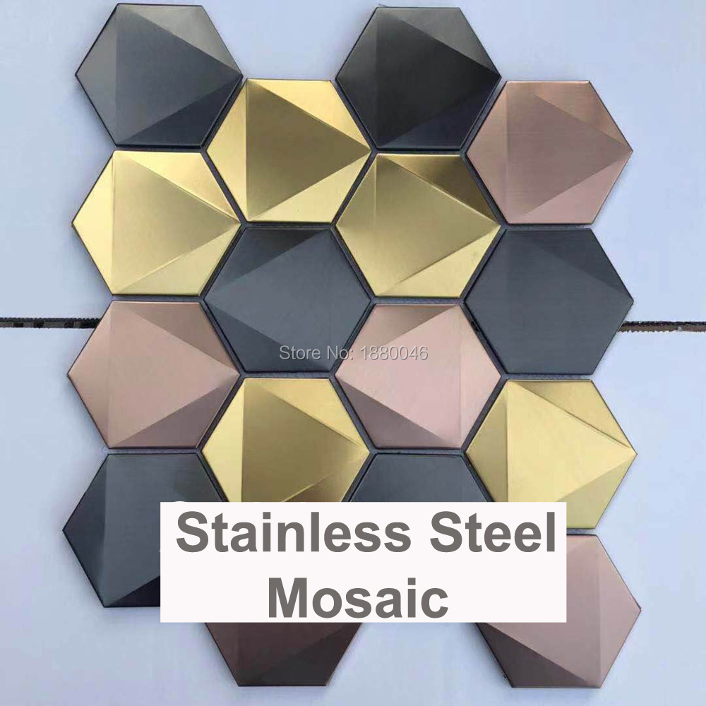 <font><b>1</b></font> BOX 12 pieces New design Mixed Colors <font><b>3D</b></font> hexagon shape stainless steel mosaic tile for background Decorative Wall Tile image