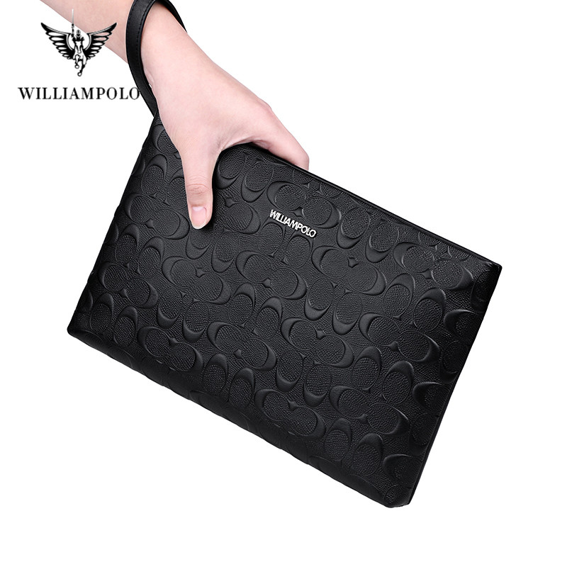 WILLIAMPOLO Luxury Brand Business Men Wallet Leather Man Bag Coins Pocket Purse Casual Envelope Long Wallets Male Handy Bag For