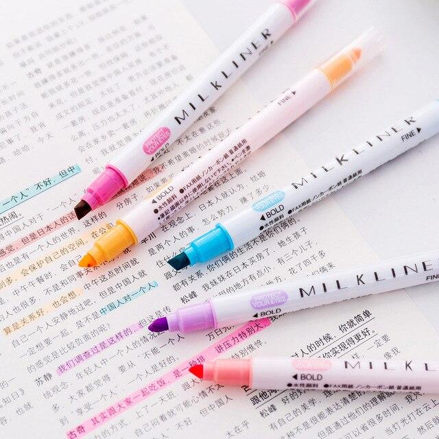 Japanese Stationery Mild Liner Double Headed Highlighter Pen Milkliner Pen Fluorescent Pen Colored Drawing Marker Pens 12 Colors