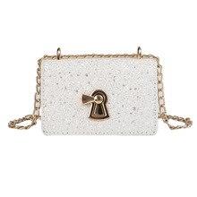 JUILE New Shoulder Messenger Bag Women's Cute Chain handbag Lady Sequin Lock Fashion pu leather flip Women small square bag