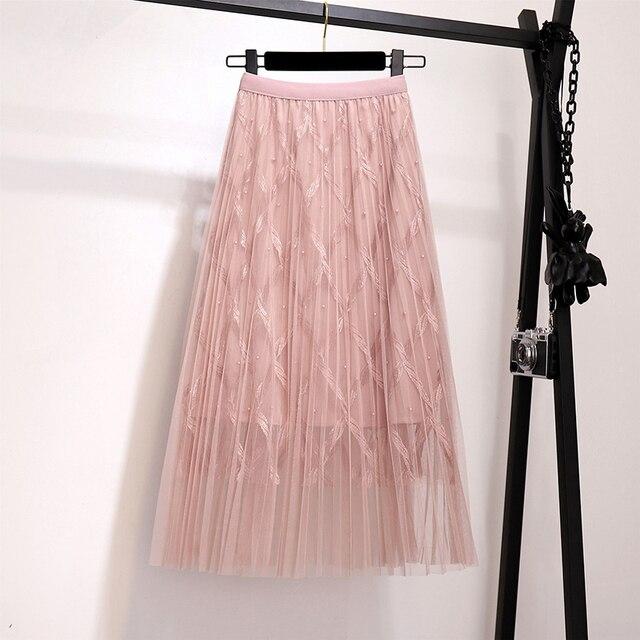 Zoki Fashion Mesh Women Long Skirt Elegant Spring Summer A Line Pearl High Waist Korean Female Party Tulle Midi Pleated Skirt 4