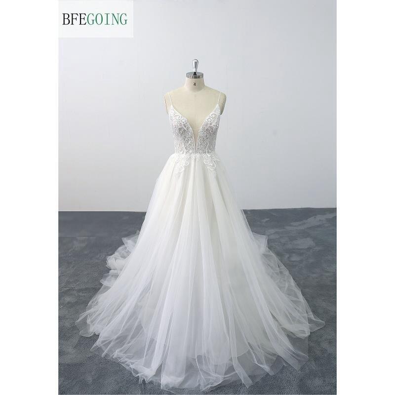 White Lace  Spaghetti Straps V-Neck Sleeveless  Floor-Length A-line Wedding Dress  Chapel Train Custom Made
