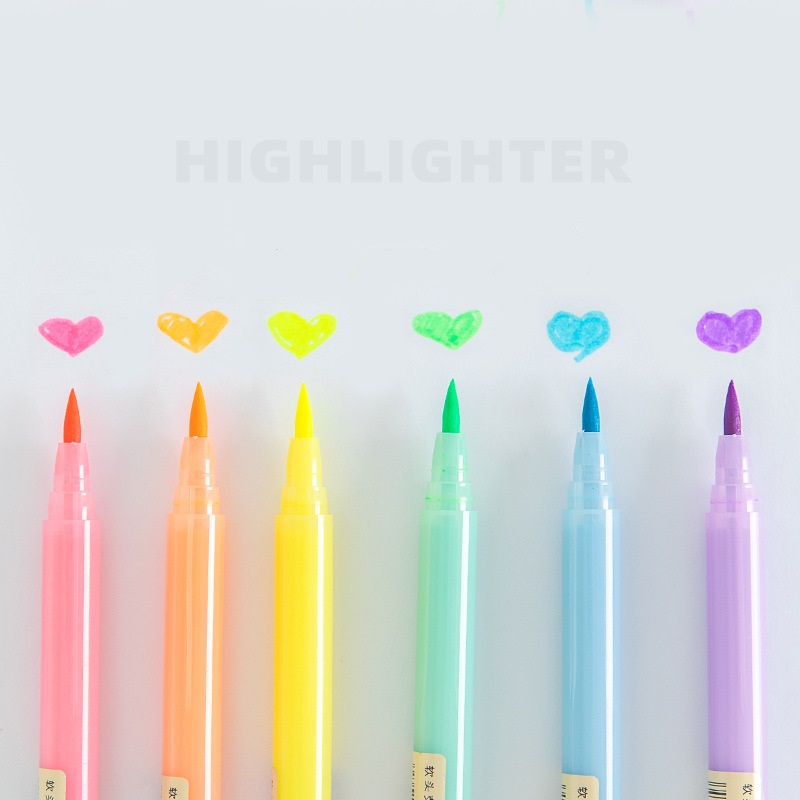 Soft Brush Tip Pure Color Highlighter Pen Fluorescent Marker Pens For Drawing Highlight Liner Stationery Office School A6055