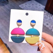 Mixed Color Drop Earrings Double Half Circle Geometric Danging