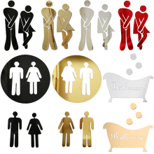 Sign Door-Stickers Toilet-Entrance WC Home-Decoration Vinyl for Public-Place Funny 1set