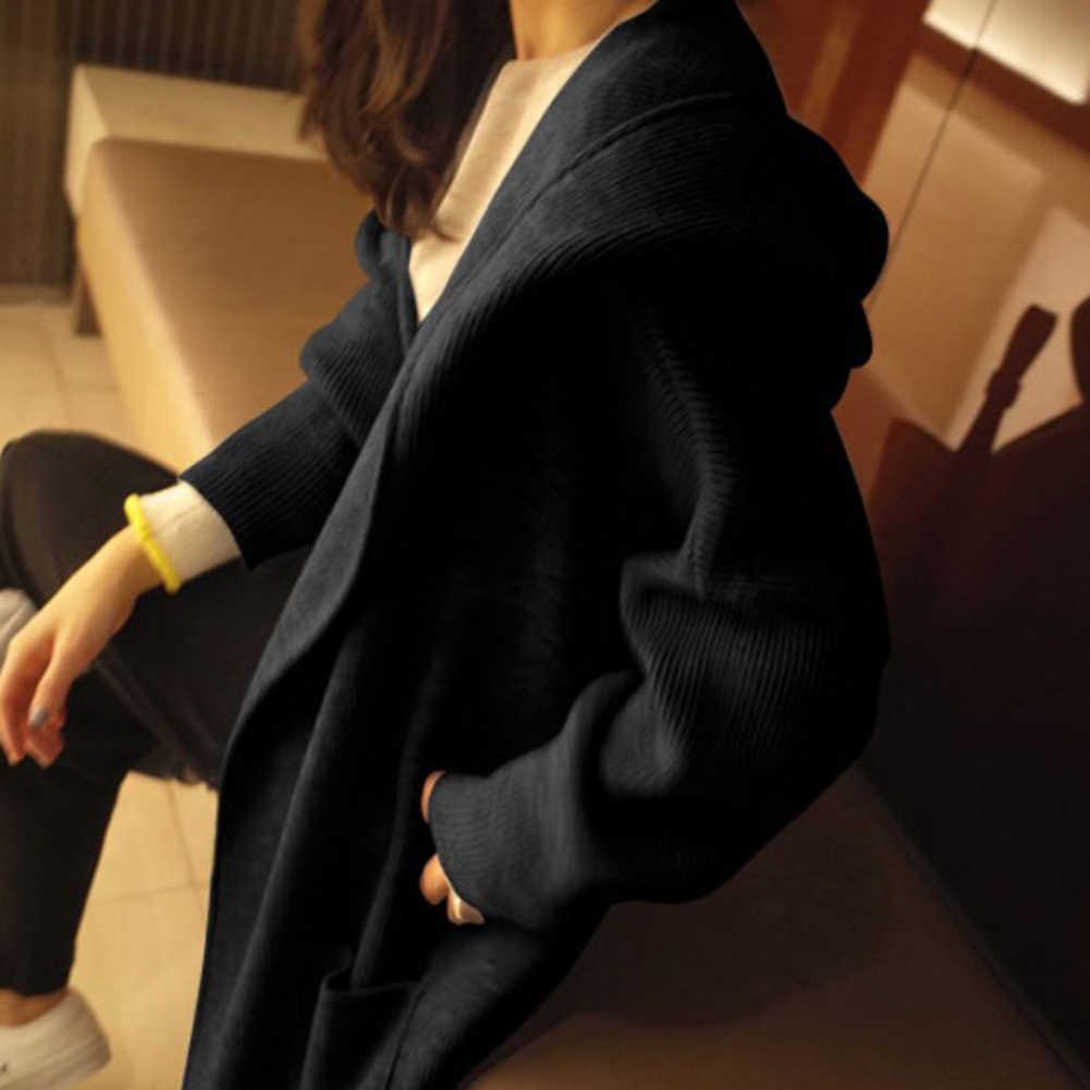 Otoño mujer Color sólido Cardigan manga larga grande con capucha túnica prendas de vestir