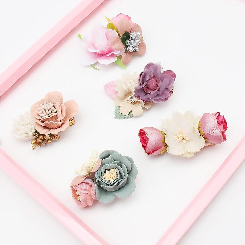 2 Pcs/Lot Floral Barrettes For Girls Handmade Artificial Flowers Hair Clips Women Girls Flower Hair Bows Hair Accessories New