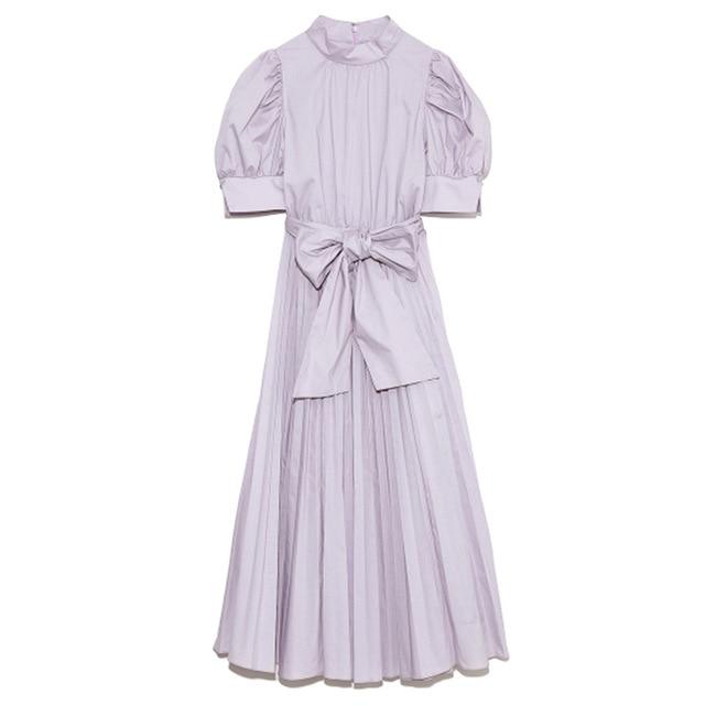 Kuzuwata 2021 Spring Summer Fashion Woman Clothing High Waist Slim Puff Sleeve Rosette Solid Dresses Japanese Sweet Vestidos 4