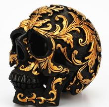 Gold trumpet decorated skull Furnishing articles Creative Resin black Skull spoof desktop figure Sculpture statue carving Home retro archaize silver horse head statue animal bust luxury model resin craftwork home furnishing articles l2427