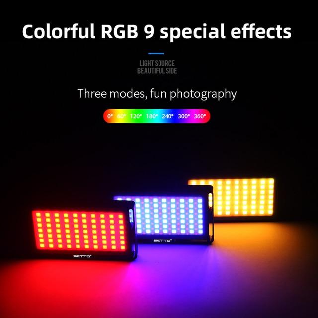 SETTO Colorful RGB LED Video Light Dimmable Full Color SCENE mode Studio Vlog Photography Lighting Pocketlite for DSLR Camera