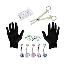 Tongue Nose Belly Button Body Jewelry Piercing Rings Clamp Gloves Needles Tool Kit Ear Plug Prong Earrings Internally Threaded(China)
