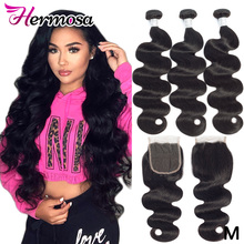 Hermosa Hair Weave Closure Human-Hair-Bundles Body-Wave Brazilian Non-Remy with Double-Weft