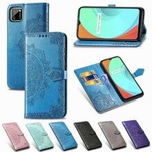 Caso do telefone da aleta para oppo realme c11 caso de couro magnético carteira cartão capa para oppo realme c11 coque caso