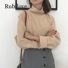 Rubilove Women oversize sweater turtleneck pullovers loose slim look korean fashion