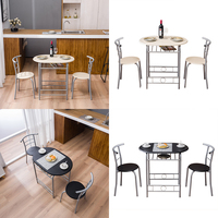 Two Colors 80x53x76cm PVC Breakfast Table (One Table and Two Chairs) Dining Table Set Coffee Table