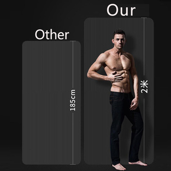 Lengthen men black rubber fitness mat Home workout sport carpet pilates gym yoga mat thick