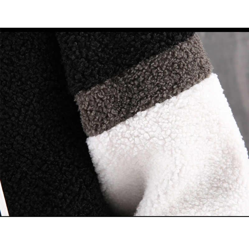 Парка 2020 Новая повседневная зимняя куртка из овечьей шерсти Мужская ветрозащитная Теплая стеганая куртка с капюшоном модная верхняя одежда комбинированное пальто