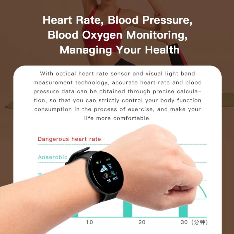 H1172ec0f22114847afa247edb0f34e69k Smart Watch D18 Blood Pressure Fitness Tracker Round Smartwatch Waterproof Sports Smart Watch Men Women For Android Ios Z2