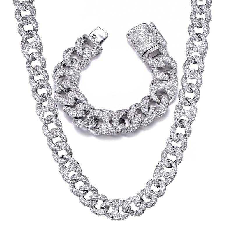 18MM ensemble Bling AAA CZ cubique zircone glacé boîte fermoir luxe cubain lien chaîne collier pour hommes Hip Hop rappeur bijoux 18''24''